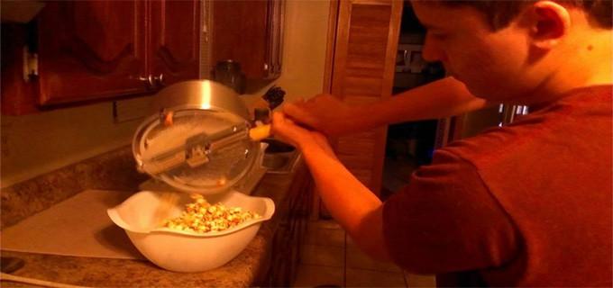 Christian making kettle corn