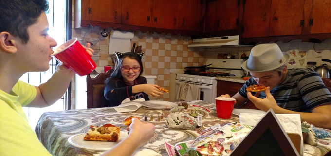 Fun times eating pizza at Nanas and Tatas