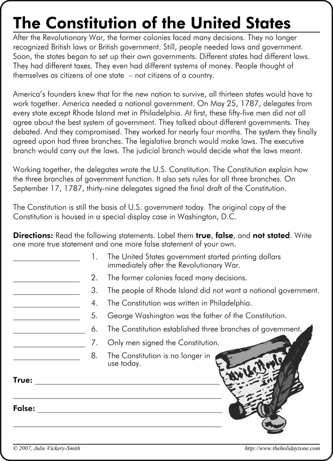Us Constitution Worksheet Worksheets Tutsstar Thousands of – Constitution Worksheets