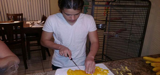 Weston Prepping my Birthday Dinner